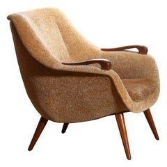 1950s, 1 Scandinavian Lounge Club Chair in Camel Chenille and Teak, Denmark