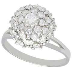 1950s 1.07 Carat Diamond and White Gold Cluster Ring