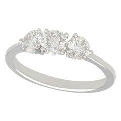 1950s 1.19 Carat Diamond and 18 Karat White Gold Trilogy Engagement Ring