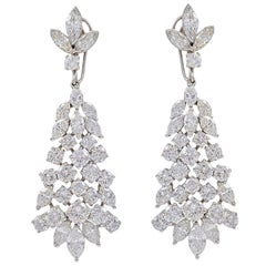 1950s 12 Ct Day and Night Detachable Diamond Drop Cocktail Earrings in Platinum