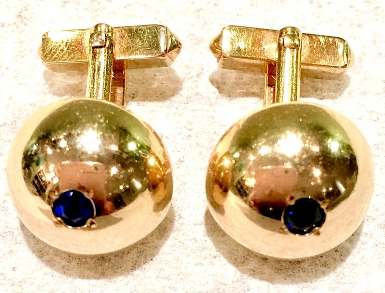Art Deco 1950'S 12-Karat Gold Filled & Sapphire Blue Glass Cuff Links By, Swank For Sale