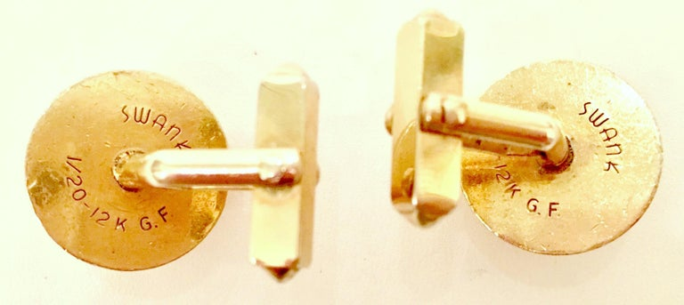 Women's or Men's 1950'S 12-Karat Gold Filled & Sapphire Blue Glass Cuff Links By, Swank For Sale