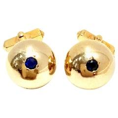 1950'S 12-Karat Gold Filled & Sapphire Blue Glass Cuff Links By, Swank