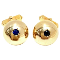 1950'S 12-Karat Gold Filled & Sapphire Blue Glass Cuff Links By, Swank