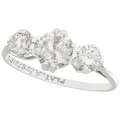 1950s 1.29 Carat Diamond and Platinum Trilogy Engagement Ring