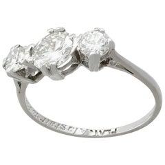 1950s 1.29 Carat Diamond and Platinum Trilogy Ring