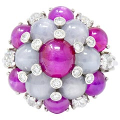 1950s 13.07 Carat Star Sapphire Ruby Diamond Platinum Floral Cluster Ring