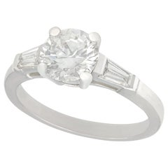 Vintage 1950s 1.32 Carat Diamond and Platinum Solitaire Engagement Ring