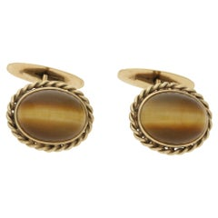 Tiger's Eye Cufflinks in 14 Karat Gold Circa 1950's