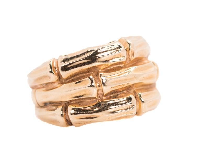 1950s 14 Karat Yellow Gold Bamboo Band Ring
