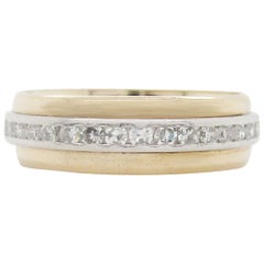 1950s 14 Karat Yellow Gold Platinum Diamond Eternity Band