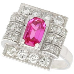 1950s 1.45 Carat Pink Sapphire and Diamond White Gold and Platinum Cocktail Ring