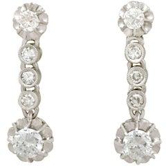 1950s 1.46 Carat Diamond and Platinum Drop Earrings