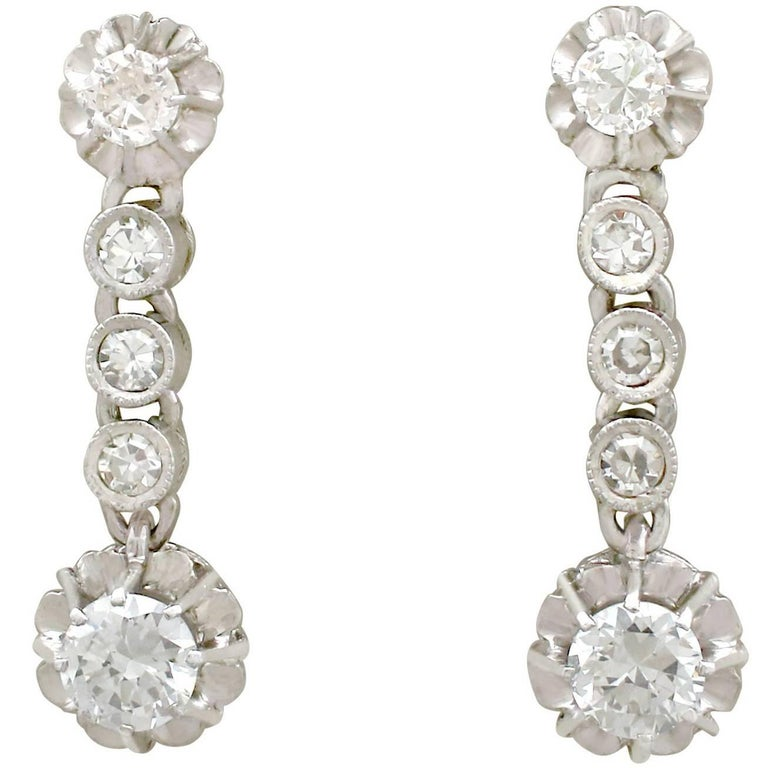 1950s 1.46 Carat Diamond and Platinum Drop Earrings