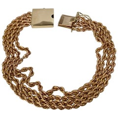 14 Karat Yellow Gold Vintage Four Strand Chain Bracelet