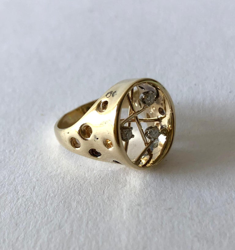 Round Cut 1950s 14 Karat Gold Diamond Atomic Modernist Ring For Sale