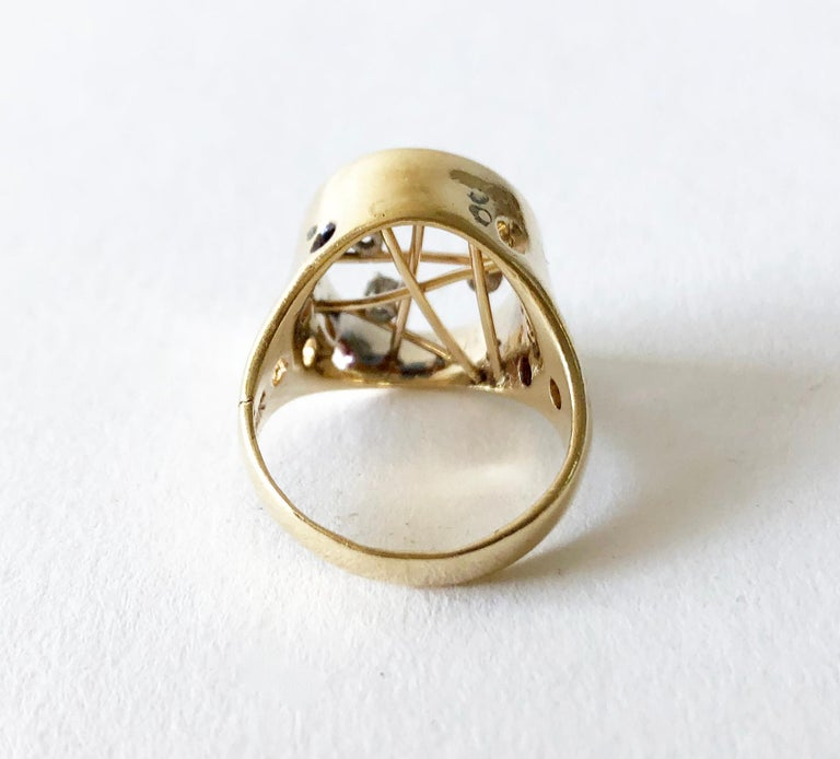 1950s 14 Karat Gold Diamond Atomic Modernist Ring In Good Condition For Sale In Los Angeles, CA