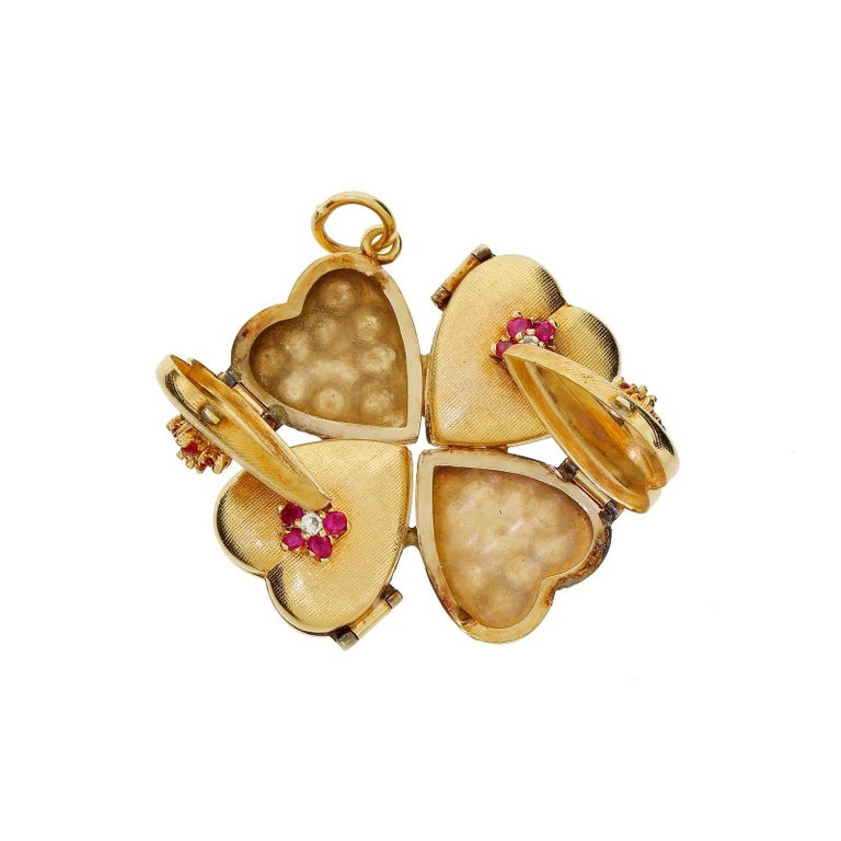 1950s 14k Gold Ruby Four Leaf Clover Love Heart Photo Locket Pendant Large 18+G For Sale 1