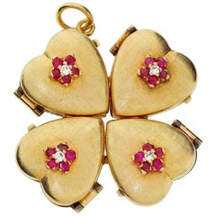 1950s 14k Gold Ruby Four Leaf Clover Love Heart Photo Locket Pendant Large 18+G