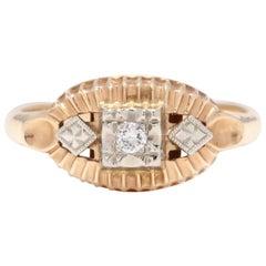 1950s 14 Karat Yellow and White Gold Diamond Ring