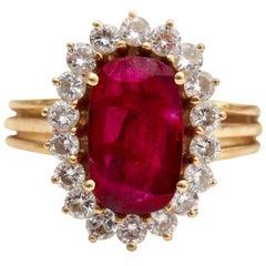 1950s 1.5 Carat Ruby and 0.25 Carat Diamond Ring in 14 Karat Gold