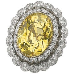 1950s 18 Karat Gold Buccellati Yellow Sapphire Diamond Ring Certified by SSEF