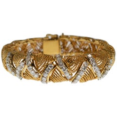1950's 18 Karat Yellow Gold Rope Bracelet w Diamond Lashing