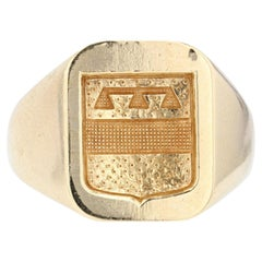 1950s 18 Karat Yellow Gold Armored Signet Ring