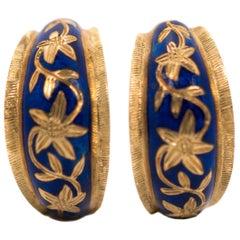 1950s 18 Karat Yellow Gold, Blue Enamel Floral Huggie Hoop Earrings