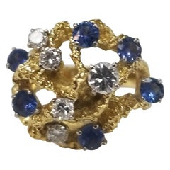 1950s 18 Karat Yellow Gold Diamond and Sapphire Freeform Ring