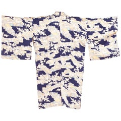 1950/60'S Amazing Architectural Print Japanese Silk  Kimono