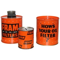 1950s-1960s Fram Oil Filter Cigarette Lighter, Ashtray and Coin Bank
