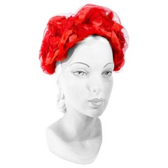 1950s/1960s I. Magnin Red Floral and Tulle Hat