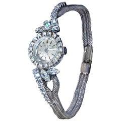 1950s-1960s Patek Philippe Platinum Triple Diamond Twist Motif Bracelet Watch