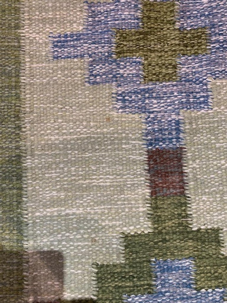 1950s/1960s Swedish Flat Weave Rug by Textile Artist Ida Rydelius For Sale 4