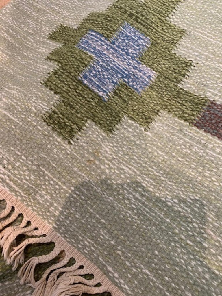 1950s/1960s Swedish Flat Weave Rug by Textile Artist Ida Rydelius For Sale 6