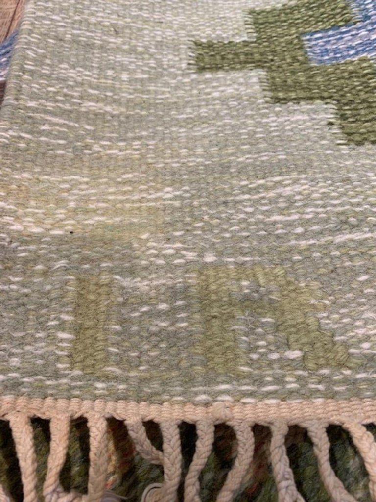 1950s/1960s Swedish Flat Weave Rug by Textile Artist Ida Rydelius For Sale 7