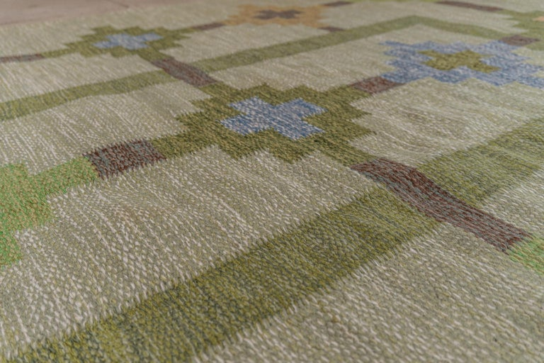 Mid-Century Modern 1950s/1960s Swedish Flat Weave Rug by Textile Artist Ida Rydelius For Sale