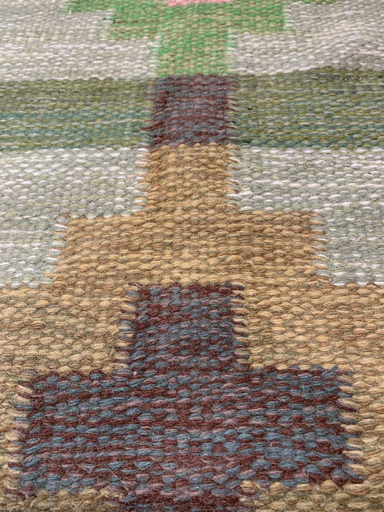 Hand-Woven 1950s/1960s Swedish Flat Weave Rug by Textile Artist Ida Rydelius For Sale