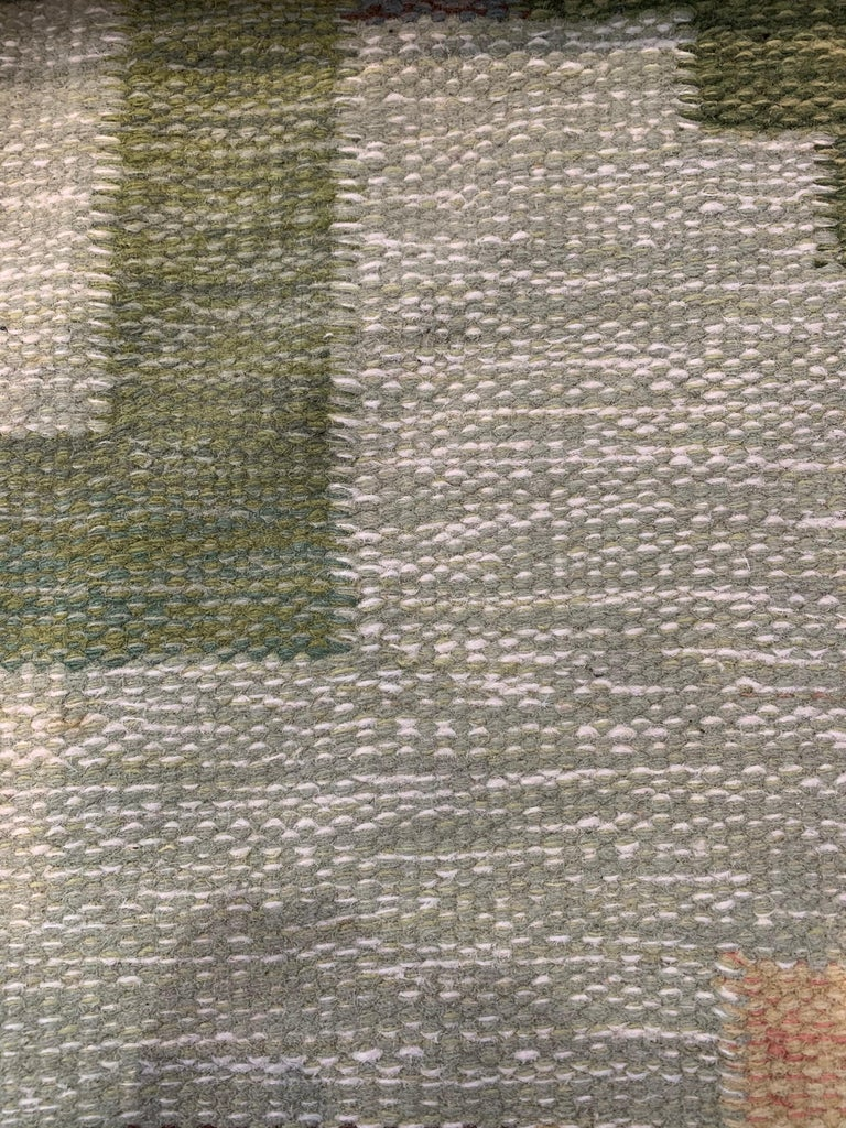 1950s/1960s Swedish Flat Weave Rug by Textile Artist Ida Rydelius In Good Condition For Sale In London, GB