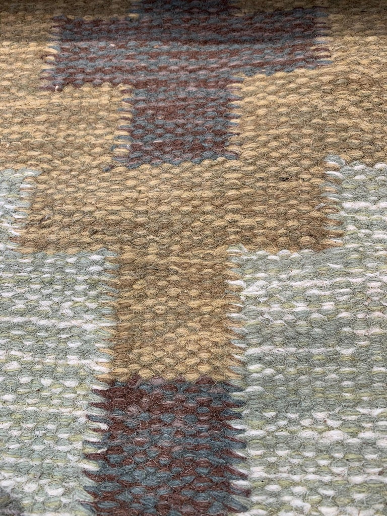 Mid-20th Century 1950s/1960s Swedish Flat Weave Rug by Textile Artist Ida Rydelius For Sale