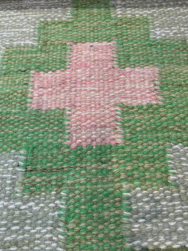 Wool 1950s/1960s Swedish Flat Weave Rug by Textile Artist Ida Rydelius For Sale