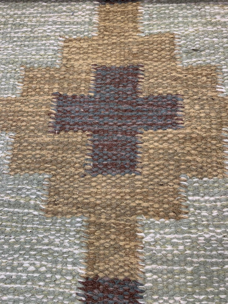 1950s/1960s Swedish Flat Weave Rug by Textile Artist Ida Rydelius For Sale 1