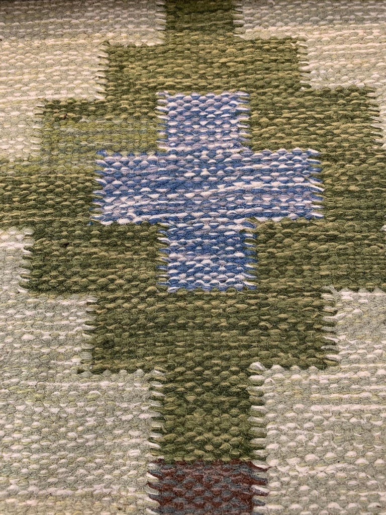 1950s/1960s Swedish Flat Weave Rug by Textile Artist Ida Rydelius For Sale 2