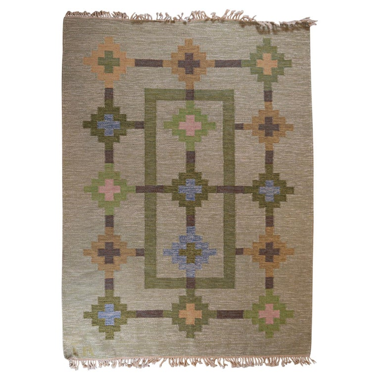 1950s/1960s Swedish Flat Weave Rug by Textile Artist Ida Rydelius For Sale