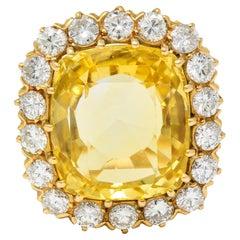 1950's 19.80 Carats No Heat Yellow Sapphire Diamond 18 Karat Gold Cluster Ring