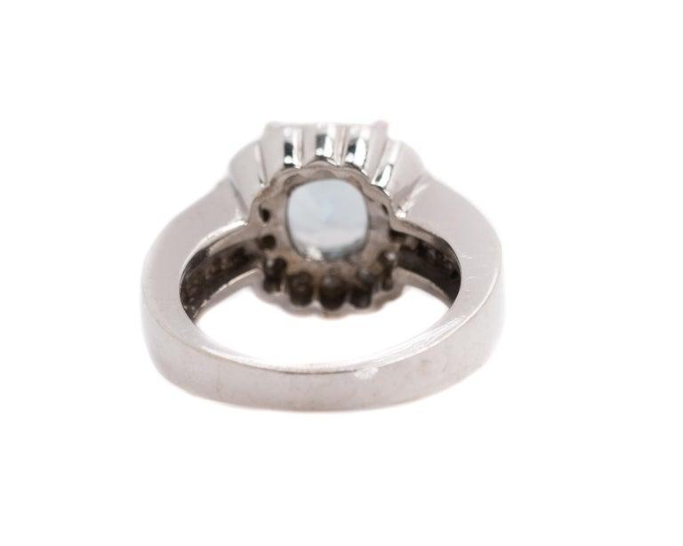 Cushion Cut 1950s 2 Carat Aquamarine and 2 Carat Diamond Halo, 14 Karat Gold Ring For Sale