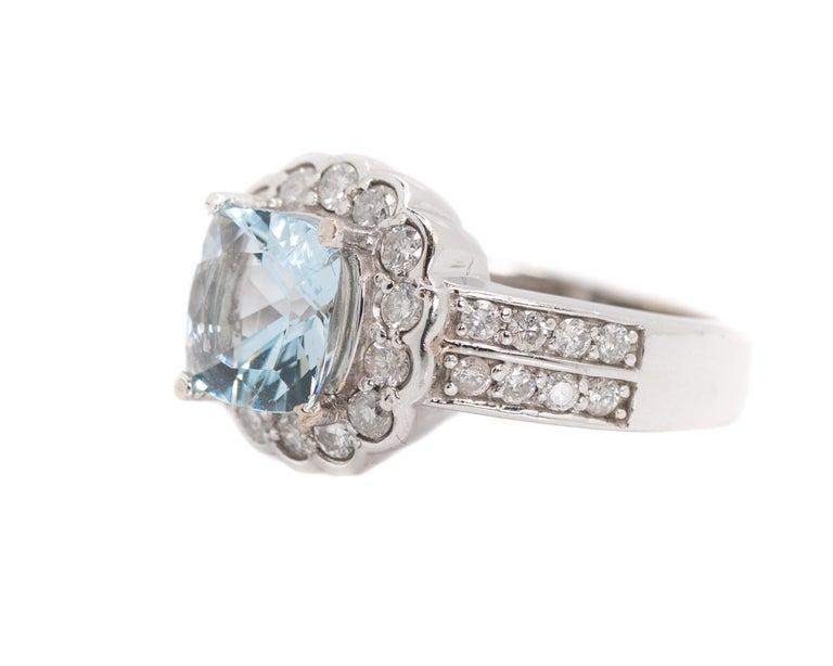 Women's 1950s 2 Carat Aquamarine and 2 Carat Diamond Halo, 14 Karat Gold Ring For Sale