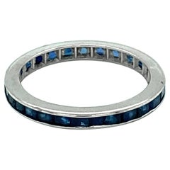 1950s 2 Carat Total Sapphire Eternity Band, 14 Karat White Gold