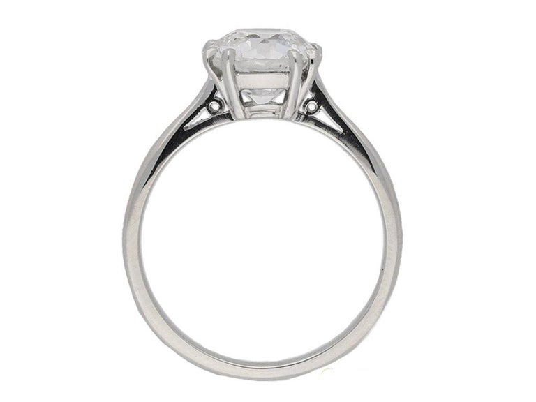 1950s 2.03 Carat Solitaire Old Cut Diamond Platinum Ring  In Good Condition For Sale In London, GB